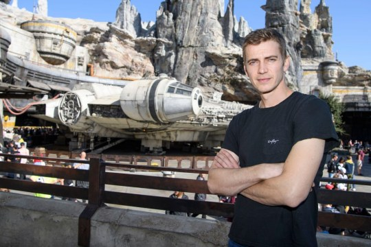 Anaheim, CA - October 29: Actor Hayden Christensen poses in front of the Millennium Falcon in this hand-out photo provided by Disneyland Resort: Smugglers run into Star Wars: Galaxy Edge on October 29, 2019 at Disneyland Park in Anaheim, California.  (Photo by Richard Harbo / Disneyland Resort via Getty Images)