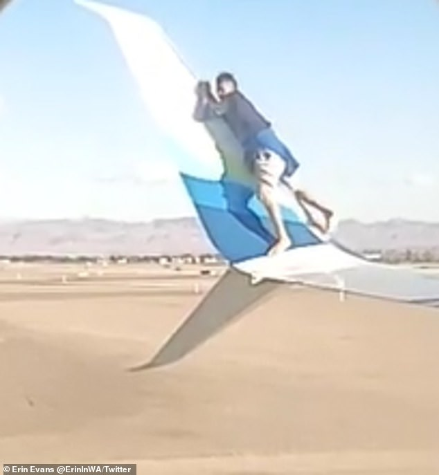 After climbing on the winglet, the man slipped and fell into the tarmac
