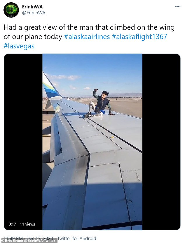 Twitter user Erin Evans filmed most of the incident inside the departing plane
