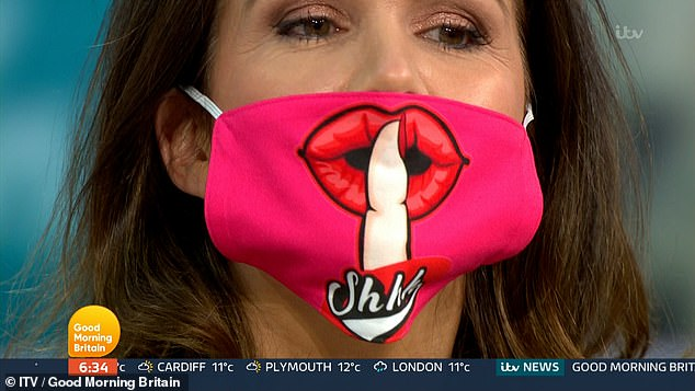 Face Mask: Susanna, nicknamed 'Shout Out', pulled off a pink mask at the beginning of a popular ITV show, raising her finger to her red lips.