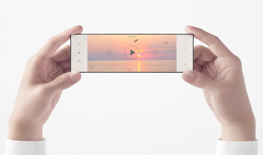 The slide-phone concept introduced by Nendo for OPPO is fully open