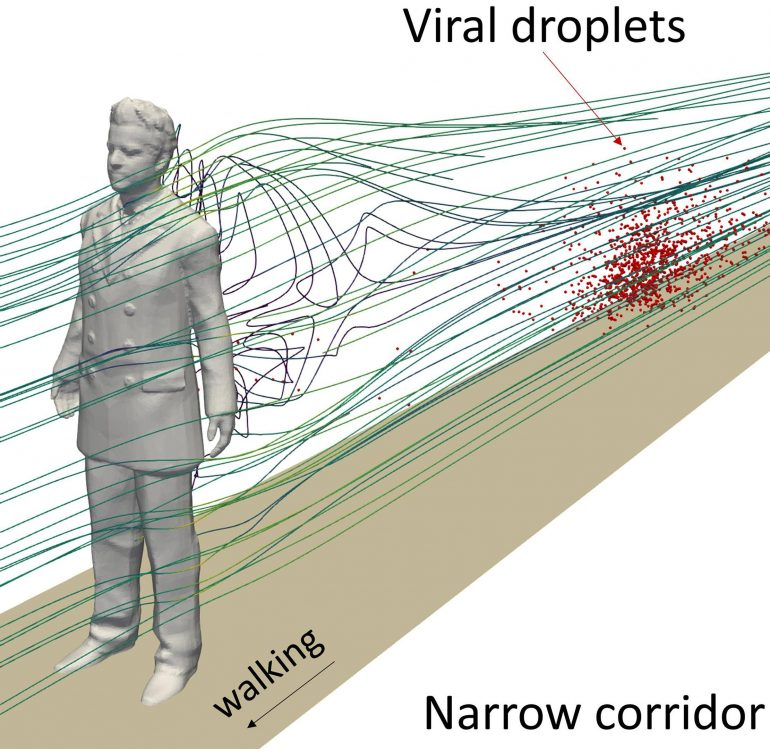 Long streams of virus-laden drops can lag behind infected individuals