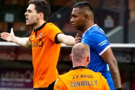Rangers' Alfredo Morelos after being yellow carded for an elbow on Dundee United's Mark Connolly