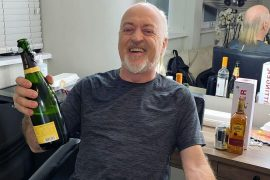 Jamie Lying booses with Bill Bailey in the dressing room after a string of successes