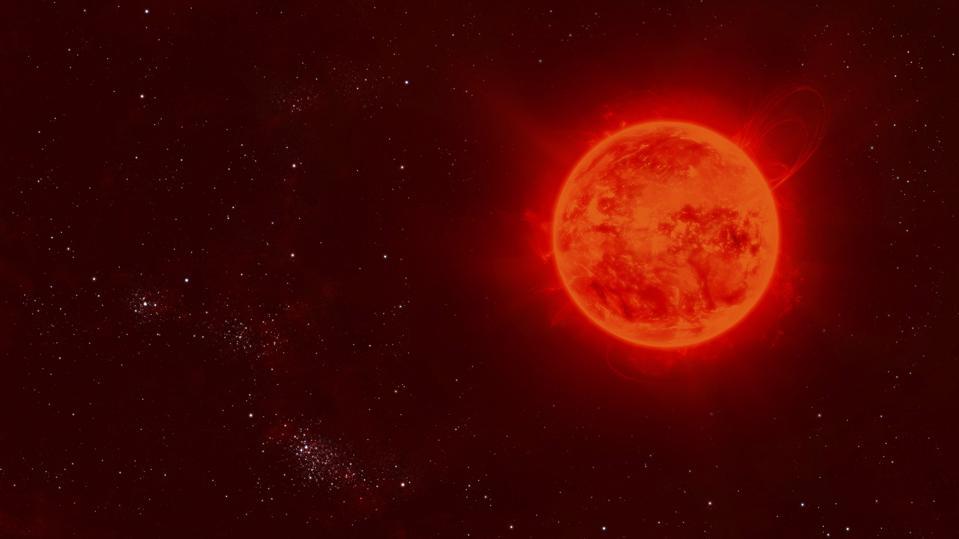 The red dwarf sun flows through space.