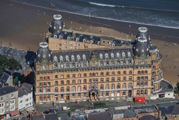 NORTH YORKSHIRE, UNITED KINGDOM. An aerial view of the Grand Hotel Scarborough, this Baroque style Grade II building is located in the centre of Scarborough, on the North Sea coastine, in this photograph taken by David Goddard.