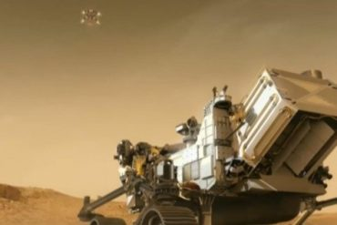 Animation showing the Perseverance Rover robot arriving on Mars on February 18, 2021