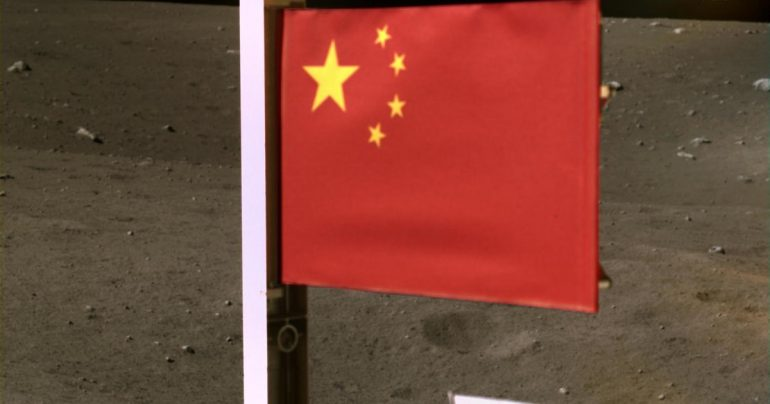 China hoists its flag on the moon as spacecraft carrying moonstones take off
