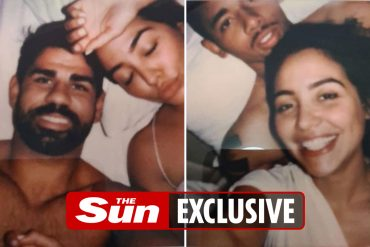 Close-up photos of Premier League stars Diego Costa and Gabriel Jesus handed out at a charity shop