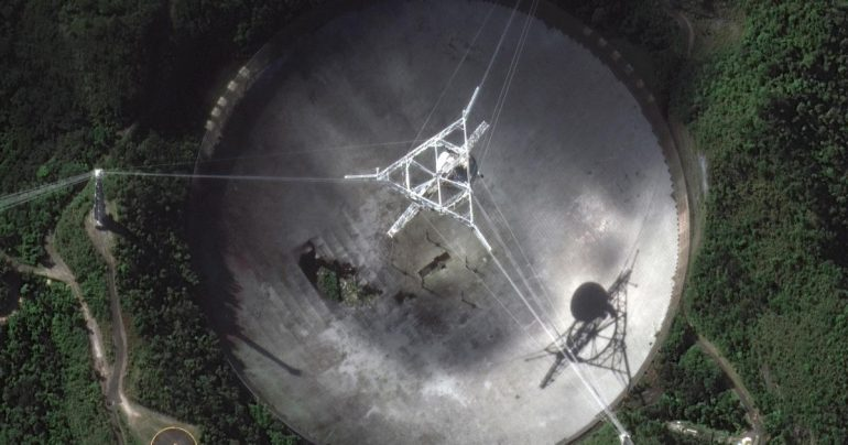 Iconic Arecibo Observatory Radio Telescope crashes after cable breaks