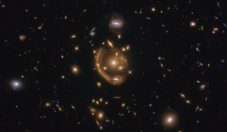 """One of the largest and most complete Einstein rings ever.  Astronomers call this the """"molten circle"""""""