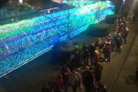 The NI Christmas light show suspended a large crowd