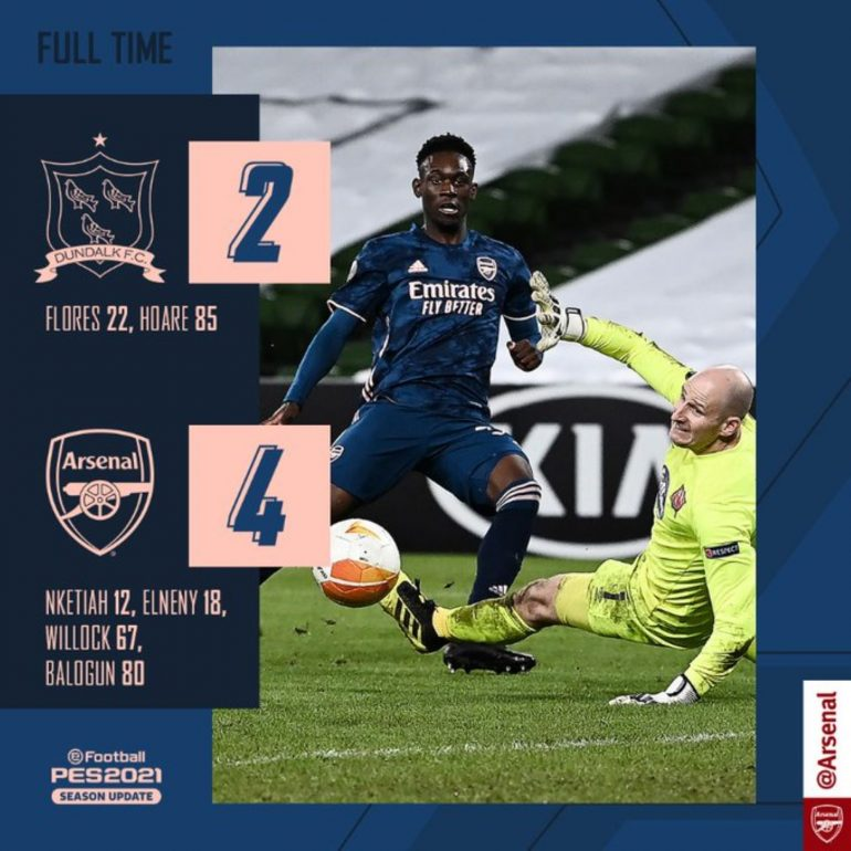 Dundalk 2-4 Arsenal;  Another goal for the Gunners
