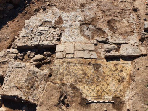 The magnificent structure incorporated in the inscription reuse.  Photo: Sachi Long, Israel Antiquities Authority
