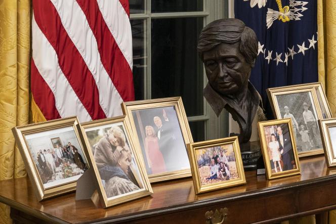 The crash of Caesar Chavez behind Joe Biden's desk.
