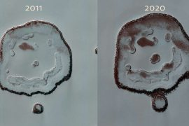 Change of the 'smiling face' on Mars in about 10 years