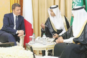 In the wake of the government crisis, Matteo Renzi flies to Riyadh for a 20-minute conference.  He is on the board of a Saudi institution that promoted the event