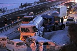 Snow makes a big pile on the national highway, and one person dies