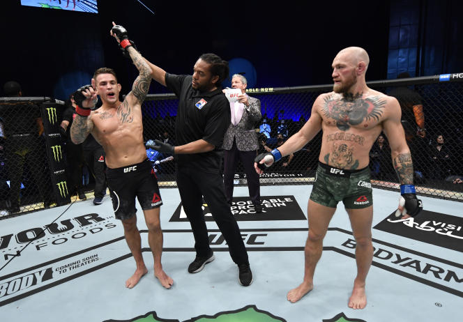 American Dustin Pourier after KO victory over Irishman Conor McGregor.