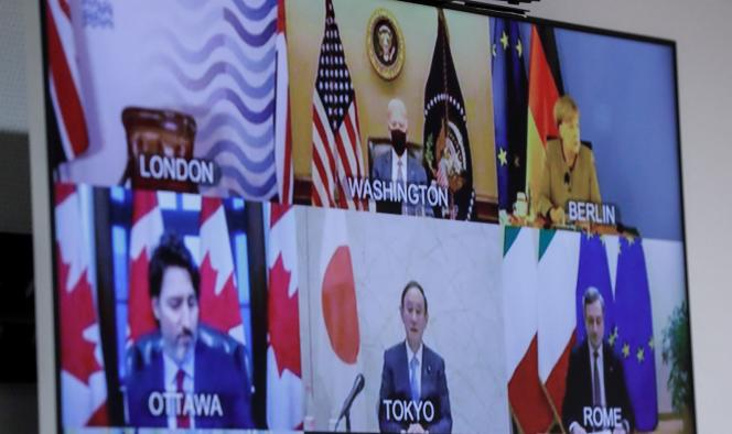 G7 leaders meet for video conference on February 19.