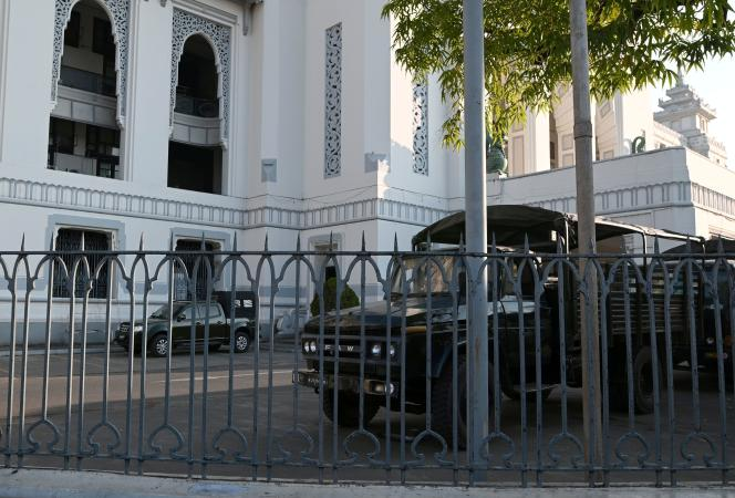 On February 1, military vehicles are parked inside the town hall in Yangon, Burma.
