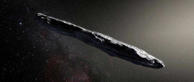 An artistic representation of the interstellar object um muvua, which rapidly overtook our solar system in 2017.