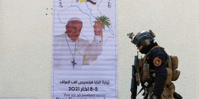 Ahead of the pope's visit, rockets were fired at an anti - jihadist coalition base in Iraq