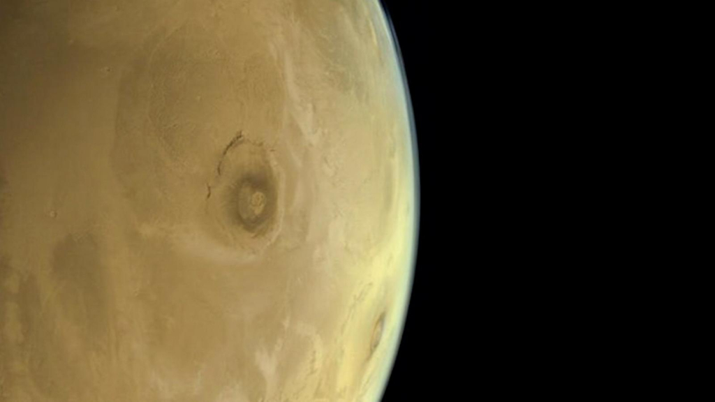 This is the giant Olympus Mons volcano on Mars