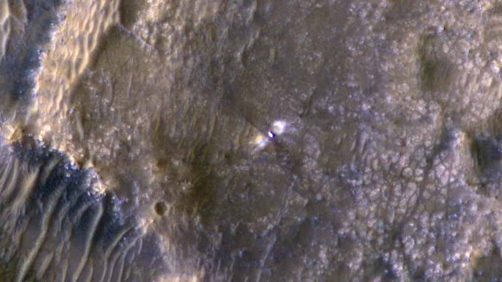 This is what the Perseverance Rover looks like from space
