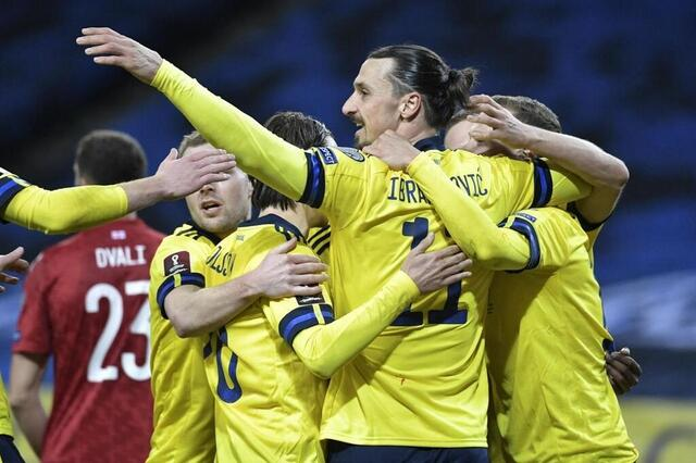 Photo Ibrahimovic played 84 minutes for his return with Sweden.  © afp