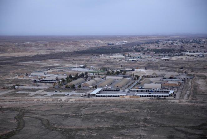 Aerial view of Ain Al Assad base in the Al Anbar Desert.