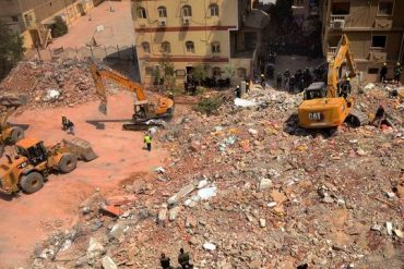 Eighteen people were killed when a Cairo building collapsed