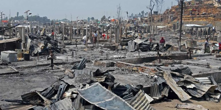 Fifteen people have been killed in a fire at a Rohingya camp in Bangladesh