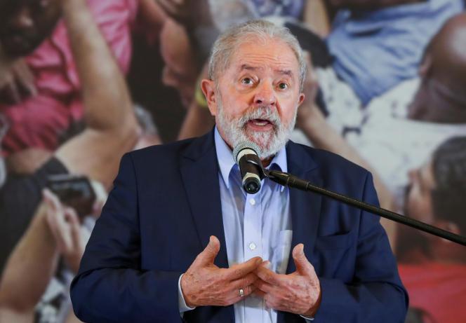 Former Brazilian President Lula on March 10, 2021 in Sao Bernardo do Campo, near Sao Paulo.