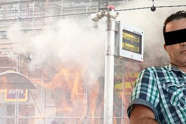The camera filmed the fire attack on the tobaccoist