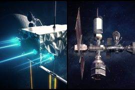 Launched by a space station using ion propulsion to orbit the Moon.