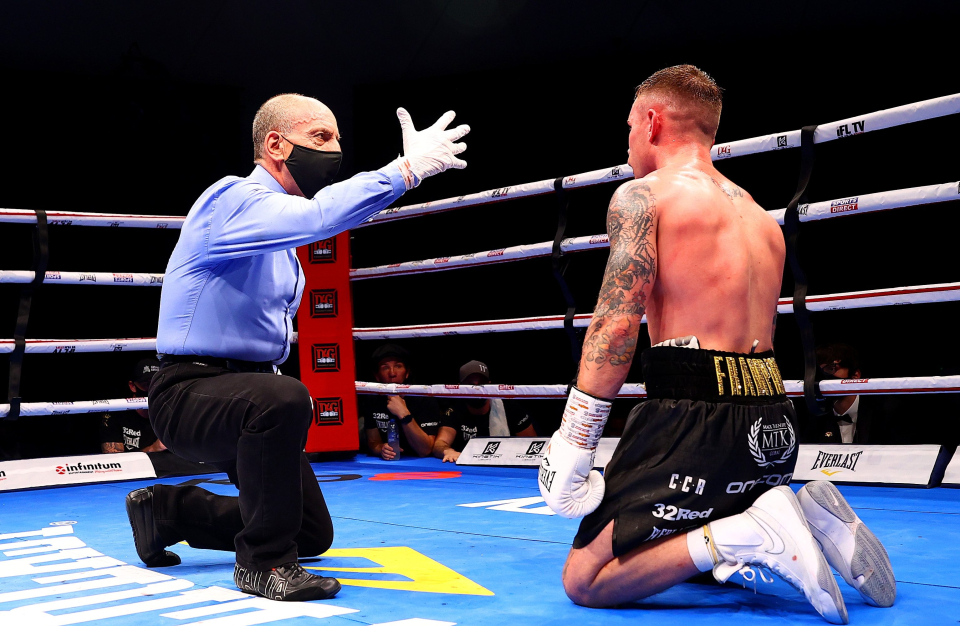After the second knockout, Frampton returned to his feet but threw his corner towel