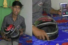 Fan, solar panel, charging point;  Super helmet made of Gondia leather;  Discussions across Maharashtra |  Prajwal Temburn Foam Gondia Super Helmet has mobile charging point LED lights
