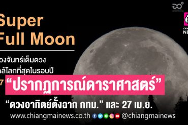 "Prof.  Dr.  Chuan Fallow 2 astronomical phenomena, ending April 26, ""Sunset in Bangkok"", April 27, ""Super Full Moon""."
