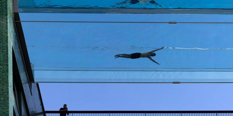 A swimmer takes part in a photo shoot to announce the new 'Sky Pool'