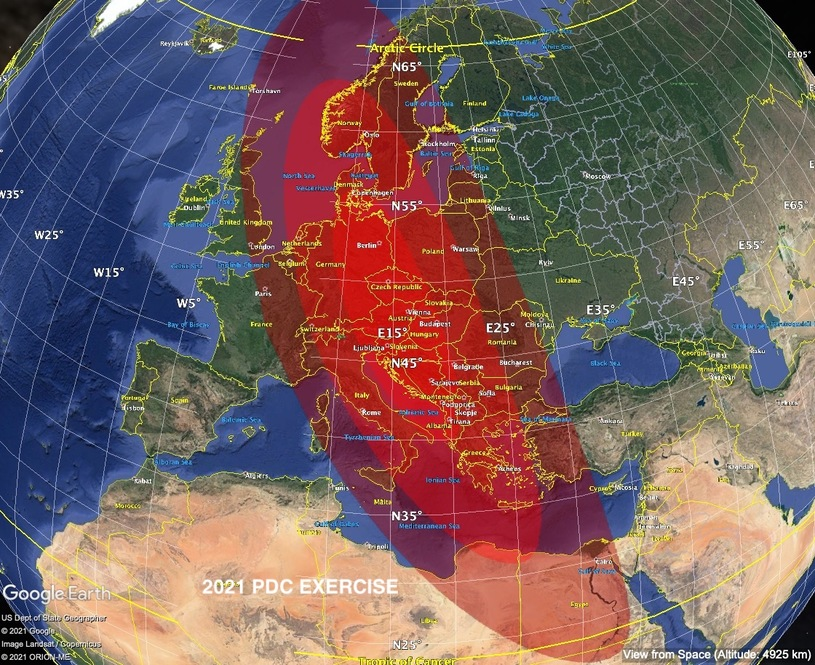 2021 PDC asteroid will land somewhere in this area (marked in red) - according to NASA simulations, Poland will be in the field of fire / press materials