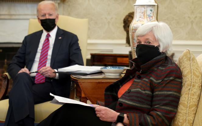 President Joe Biden and U.S. Treasury Secretary Janet Yellen at the White House in Washington on Jan. 29.