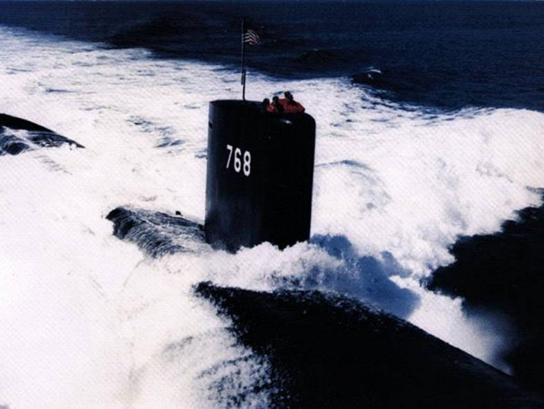 Green light for diving.  Then the submarine disappears into the thin air
