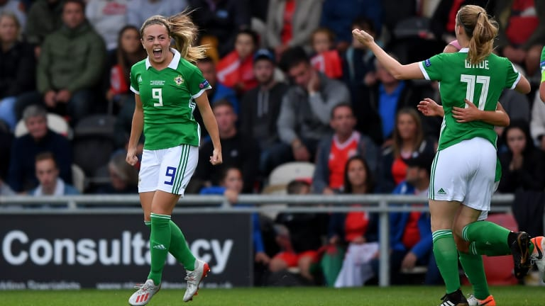 Simone Magill of Northern Ireland celebrated her first goal in the UEFA Women's Euro Qualifier between Wales and Northern Ireland at the Rodney Parade in Newport, Wales on September 3, 2019.