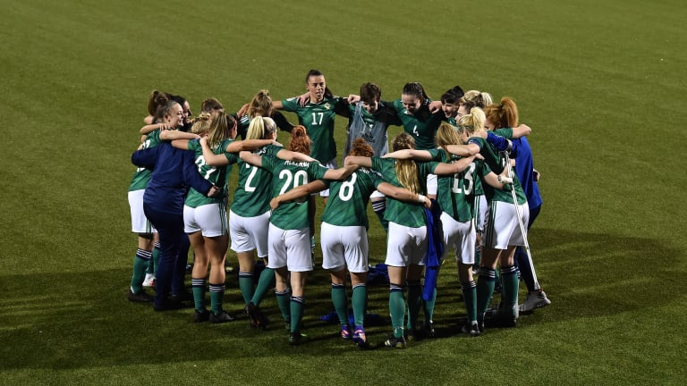 Northern Ireland players celebrate the victory in the UEFA Women's Euro 2022 play-off match between Belfast, Northern Ireland on April 13, 2021 and Seaview Northern Ireland Ukraine, on the pitch huddle.