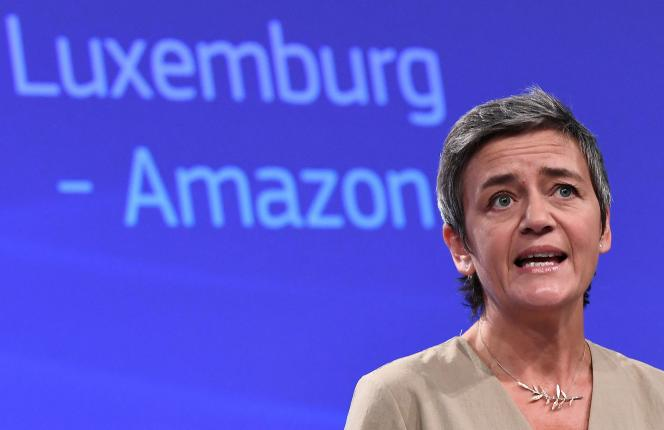 EU Competition Commissioner Margaret Vestager at a press conference on October 4, 2017 on state aid to Amazon.