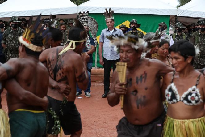 Brazilian President Jair Bolsonaro celebrates the inauguration of a bridge on May 27, 2021, at the Gabriel da Cachoira in Manaus State, Brazil.