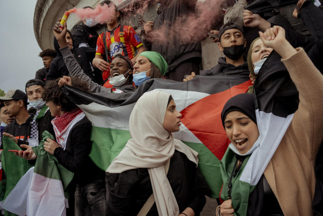 Demonstration in support of the Palestinians on 22 May 2021 at the Place de la Republic in Paris.