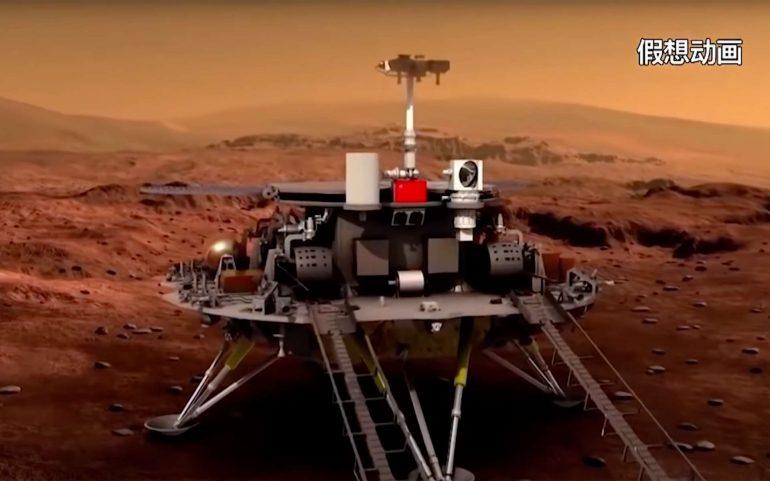 Une représentation artistique plutôt sommaire du rover chinois Zhurong qui s'est posé sur Mars avec succès le 15 mai 2021. © CNSA, YouTube
