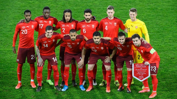 Swiss national football team on March 31, 2021, before the international match against Finland.  (Source: Imago Images / Pius Collar)
